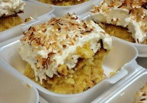 Pina Colada Cake all sliced up and ready to enjoy!
